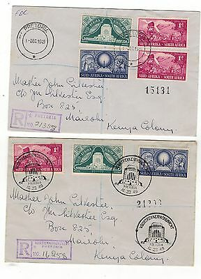 SOUTH AFRICA .1948-49.FOUR. FDCs THREE REGISTERED AIRMAIL. SEE PICTURES