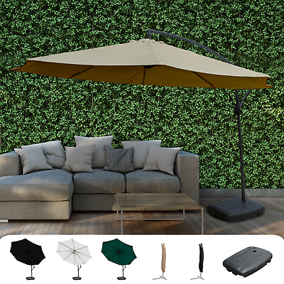 Large Garden Cantilever Parasol With Crank For Patio Shade Hanging Umbrella