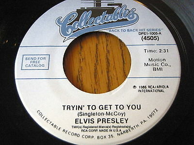 "Elvis Presley - Tryin' To Get To You / I Love You Because  7"" Vinyl"