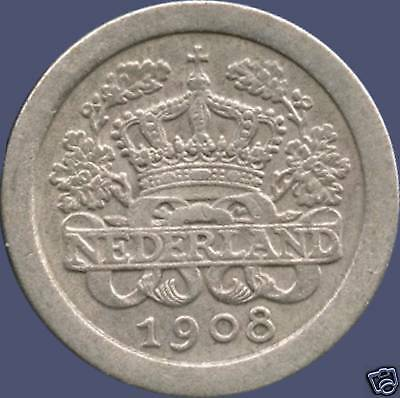1908 Netherlands 5 Cent Coin