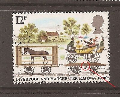 "QE2 Listed Flaw/Variety 1980 Railway 12p ""GREY STEP AND BLACK DOT"" fine used8898"