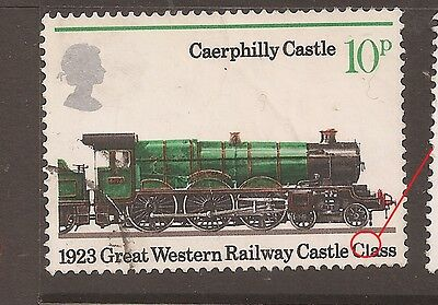 """QE2 Listed Flaw/Variety 1975 Railways Train 10p """"SERIF OMITTED L OF CLASS"""" w8902"""
