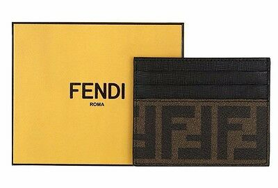 New Fendi Luxury  Ff Zucca Black Leather Id Credit Card Holder Case Wallet