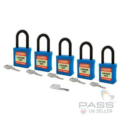 Lockout Fully Insulated Nylon Padlock - Key Different + Master - 5 Pack (Blue)