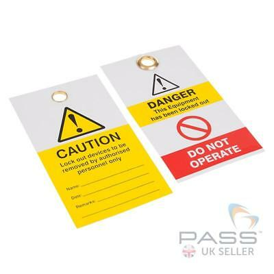 Caution Lock Out Devices to Be Removed - Yellow Exclamation - 10 Pack