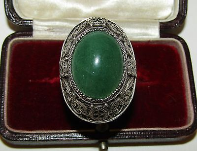 Superb, Large, Antique, Chinese, Sterling Silver Ornate Ring Wit Fine Jade