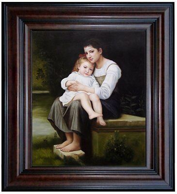 Framed Hand Painted Oil Painting Repro William Bouguereau Big Sister, 20x24in