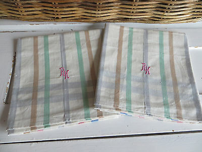2 Two Danish Linen Towels Colourful Stripes Monogram RK Danish Design Dish Cloth