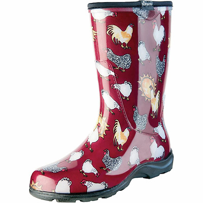 Sloggers Womens Chicken Print Rain And Garden Boot Red Size 9