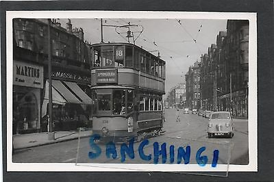 Glasgow Trams Postcard Size Old Photo 19 August 1954 Car 330 Ref285