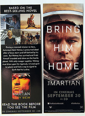 2 X The Martian Film Bookmarks - Matt Damon