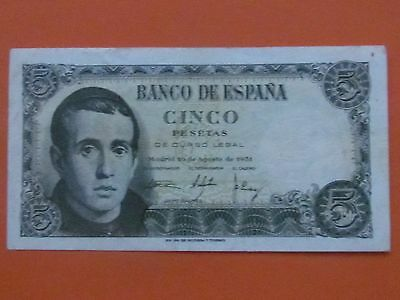 Spain ( 1951 ) 5 Pesetas High Grade Beautiful Bank Note
