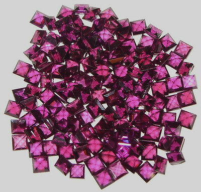4mm African Reddish Purple Rhodolite Garnet Square Princess Cut