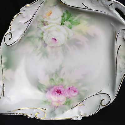 Vintage Royal Bayreuth Green with White & Pink Roses Leaf Bowl Candy Dish 1900s