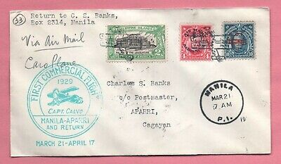 Philippines First Flight Cover 1929 Manila To Aparri W/# C3 Aamc 37G *scarce