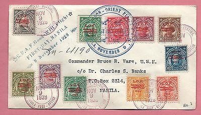 1928 Fdc Philippines Overprint Air Mail Set On Registered Cover # C18-28 Rare