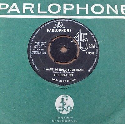 "Beatles  "" I Want To Hold Your Hand "" Orig Uk 7"" Rarer Oriole Contract"