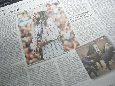 LEON RUSSELL. Musician.Times Obituary.15.11.16 UK newspaper cutting/clipping