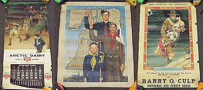 2 Vintage BOY SCOUTS OF AMERICA Posters & 1948 Calendar NORMAN ROCKWELL