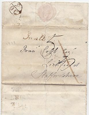 1780 Kitty Cobb Letter To Uncle At Lichfield - Isleworth 'in All' & Bishopmark