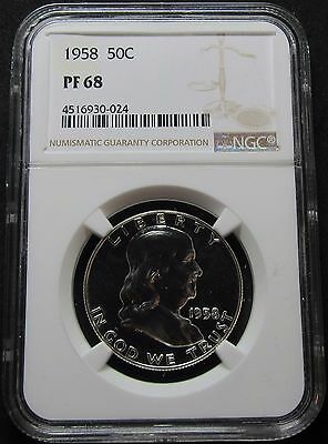 1958 Proof Franklin Half Dollar Coin - Ngc Pf 68