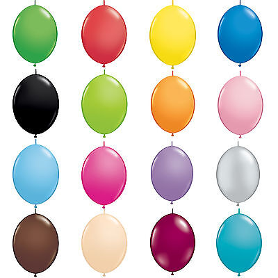 Pack of 6 Quick Link Qualatex Latex Balloons - Linking Garland Party Decorations