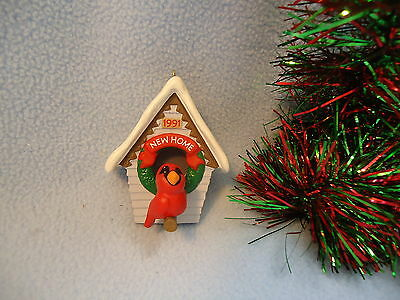 1991 Hallmark Christmas Ornament NEW HOME Cardinal Singing at Front Door