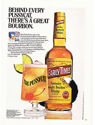 Original Print Ad-1971 EARLY TIMES-Behind every pussycat, theres a great bourbon