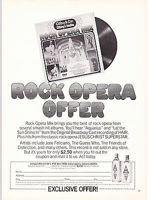 Original Print Ad-1972 GILBEYS GIN/VODKA-Rock Opera Offer-Exclusive Offer Coupon