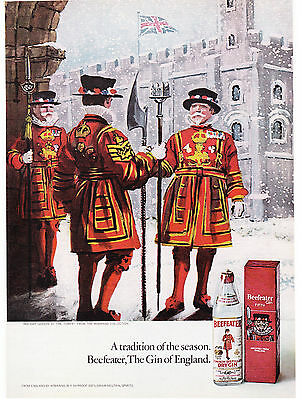 Original Print Ad-1971 BEEFEATER GIN-Royal Guards Sketch Castle in Winter & Snow