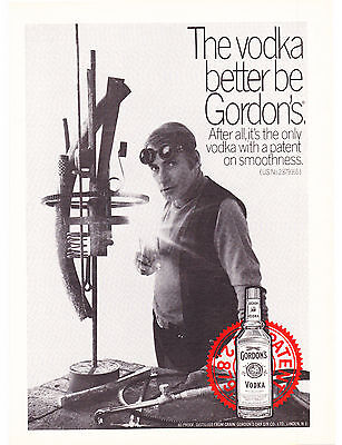 Original Print Ad-1969 The VODKA better be GORDON'S-Artist Welding his Creation