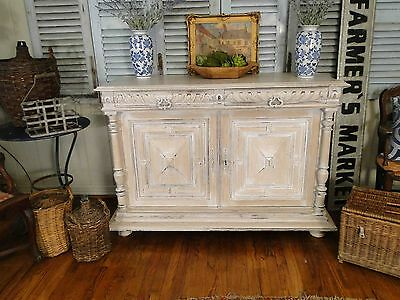 Antique French Country Sideboard Server Buffet Carved painted Provence Old