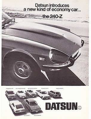 2 Page Original Print Ad-1970 Drive a DATSUN then decide-the 240-Z Black & White