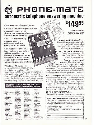 Original Print Ad-1972 PHONE MATE-automatic telephone answering machine $149.95