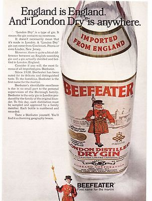 """Original Print Ad-1969 England is England And """"London Dry"""" is anywhere-BEEFEATER"""