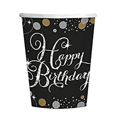 Amscan 9900550 266ml Gold Celebration Happy Birthday Paper Cup