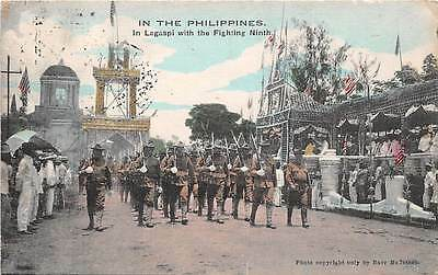 LAGASPI, PHILIPPINE ISLANDS, SOLDIERS OF THE NINTH REGIMENT ON PARADE, used 1912