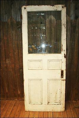 Vintage WOOD DOOR w window white wooden front glass architectural salvage shabby