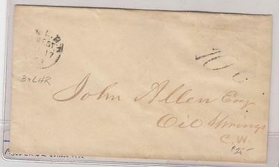 CANADA STAMPLESS COVER 10cts TO PAY PARIS CANCEL ON BACK 1868
