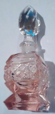 Vintage Pink Depression Perfume Bottle With Stopper Free Shipping
