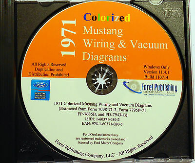 1971 ford mustang factory complete wiring vacuum diagrams schematics cd-rom  cd