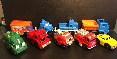 2003-2006 Fisher Price GeoTrax Push Fire Engine Truck Car Bus Lot of 9