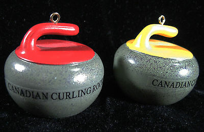 Miniature CANADIAN CURLING ROCK - Christmas Tree Ornaments Set of 2 STONES resin