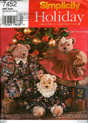 "SIMPLICITY 7452 Holiday Pattern Collection 18"" & 22"" BEARS w Clothes Christmas"
