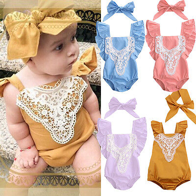 Toddler Infant Baby Girl Romper Bodysuit Jumpsuit Sunsuit Outfits Clothes USShip