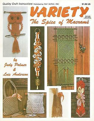 Variety The Spice of Macrame Judy Palmer Instruction Pattern Book 1978 USED