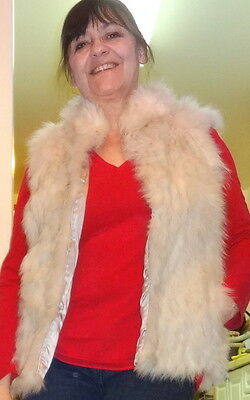 Blue Fox Fur Vest - Upcycled Real Fur 36 M 10 Made in Canada - SOFT WARM WHITE