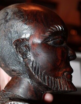 """Large 7.5"""" carved figure of African bust of bearded man mid-century great art!"""