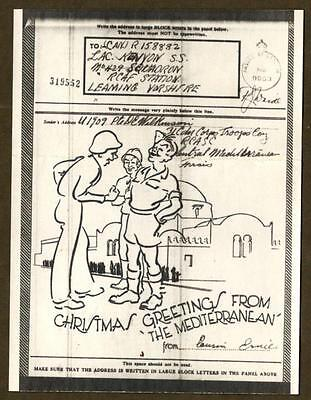 """WWII V Mail ~ """"CHRISTMAS GREETINGS FROM THE MEDITERRANEAN"""" ~ 1943 RCASC to RCAF"""