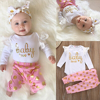 US SELL Infant Newborn Baby Girls Romper+Pants Jumpsuit Bodysuit Clothes Outfits